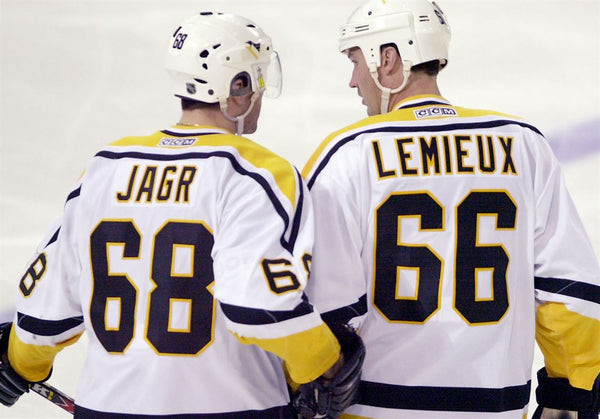 Lemieux & Jagr of Pittsburgh Penguins, #66 and #68 of Pittsburgh Penguins