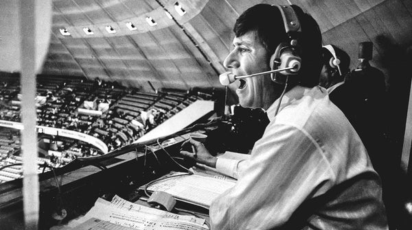 Young Mike Lange broadcasting for Pittsburgh Penguins