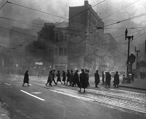 Smoke-filled streets of Pittsburgh