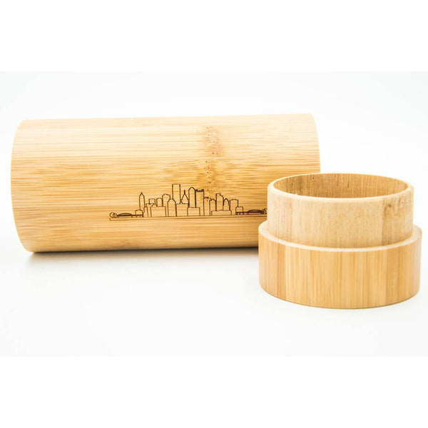 Pittsburgh Skyline Bamboo Sunglasses Case-YINZERshop.com