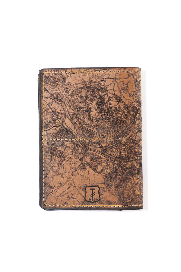 Handmade Leather Etched Pittsburgh Map Passport Wallet-YINZERshop.com