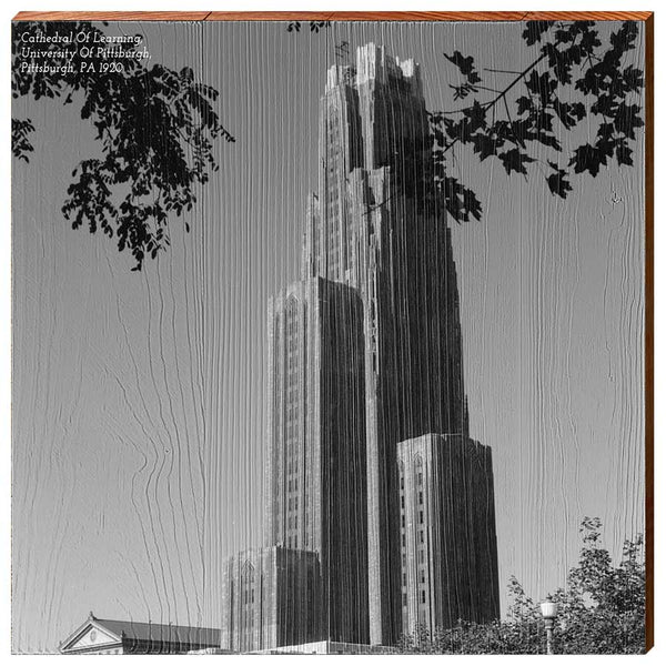 University of Pittsburgh Cathedral Of Learning, 1920 Wooden Wall Art-YINZERshop.com