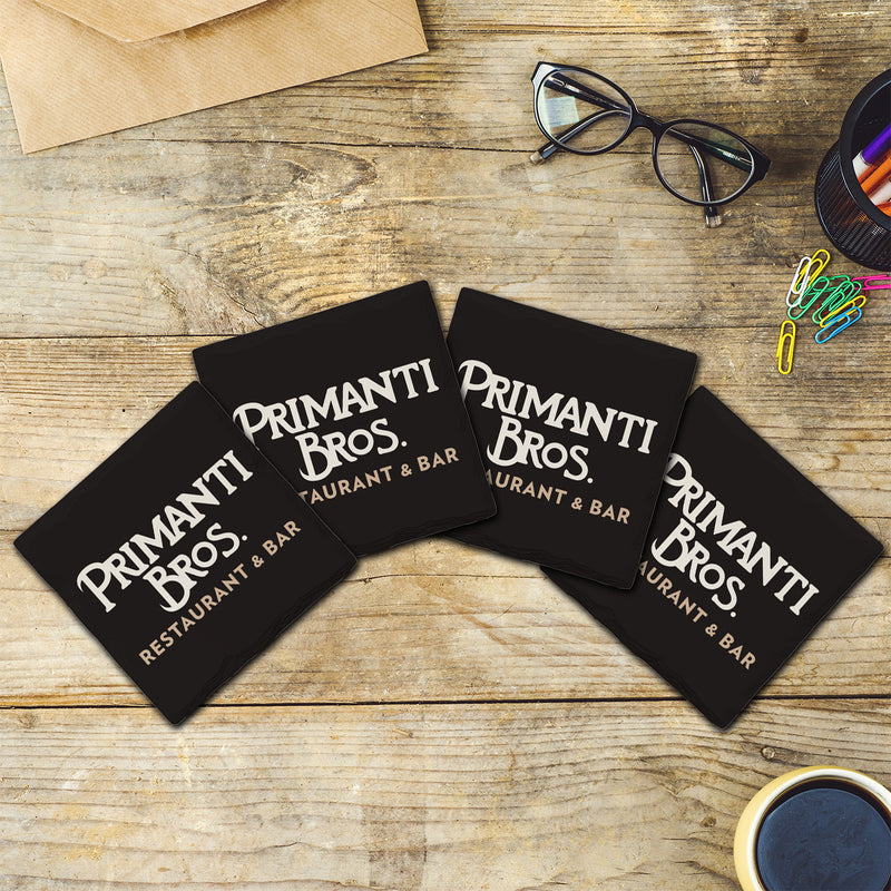 White & Peach Primanti Bros. Logo | Drink Coasters