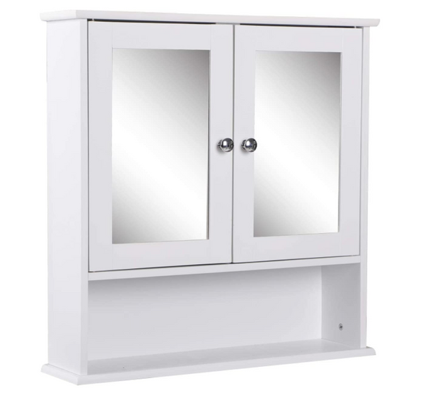 Beliwin White Colour Wood Mirrored Cabinet