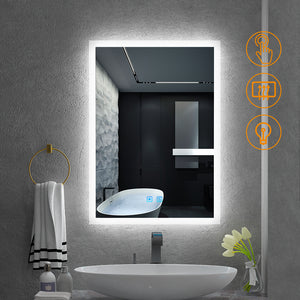 Quavikey 500 x 700mm LED Illuminated Aluminum Bathroom Mirror With Lights And Demister (No cabinet)