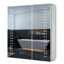 Load image into Gallery viewer, Led Illuminated Bathroom Vanity Mirror Cabinet 2 Door Large Mirrored Cabinet With Shaver Socket 630 x 650mm