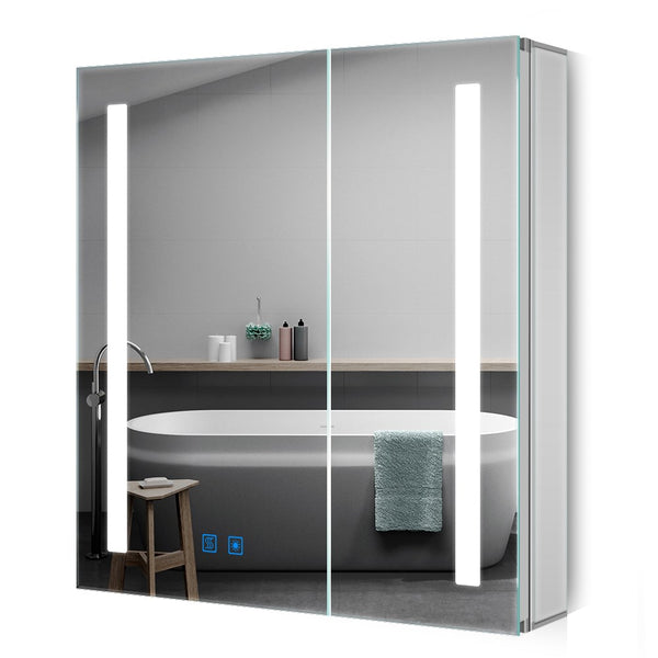 Quavikey 630 x 650mm Led Illuminated Aluminum Bathroom Mirror Cabinet with Double Mirror Doors