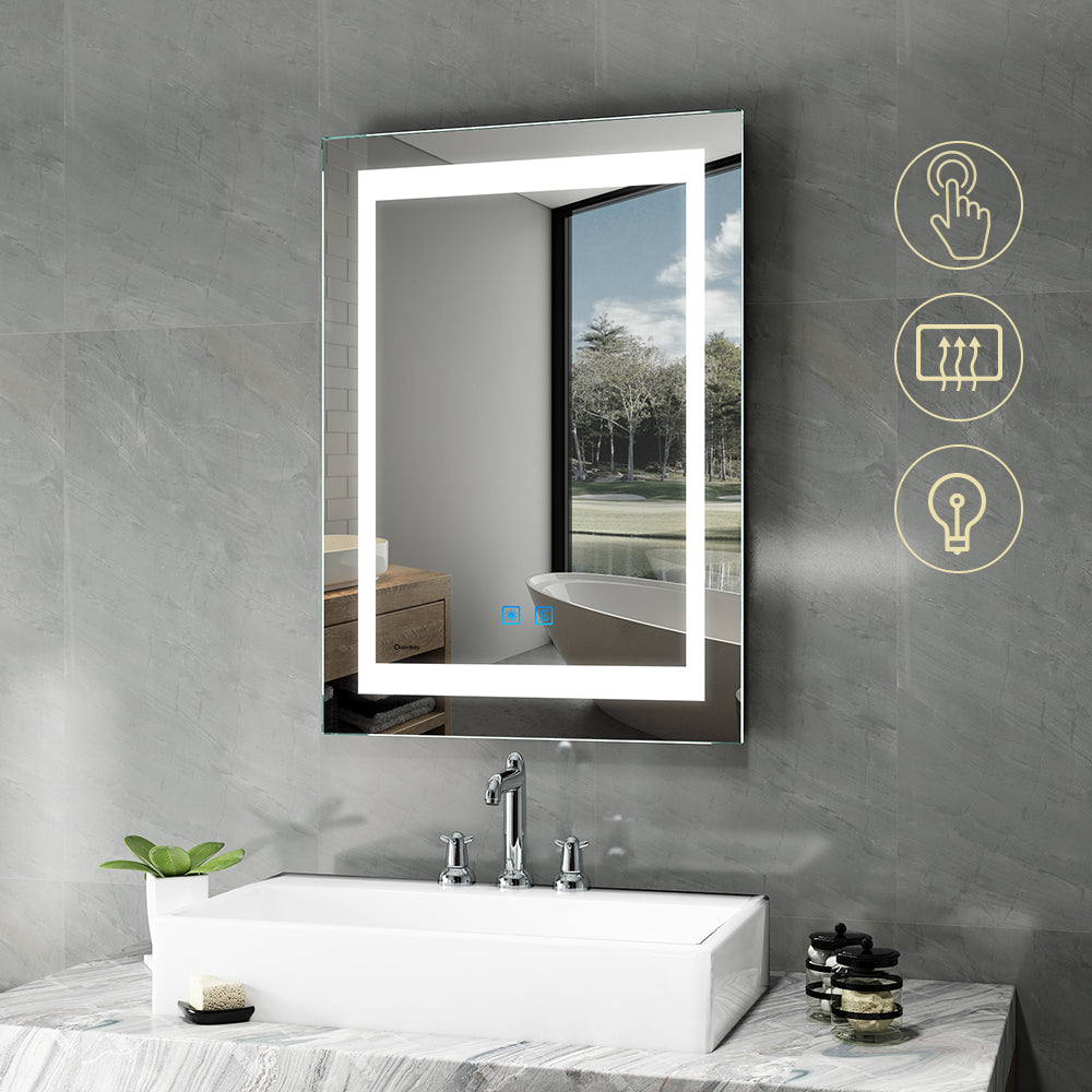 Quavikey 500 x 700mm LED Illuminated Aluminum Bathroom Mirror With Demister Pad (No cabinet)