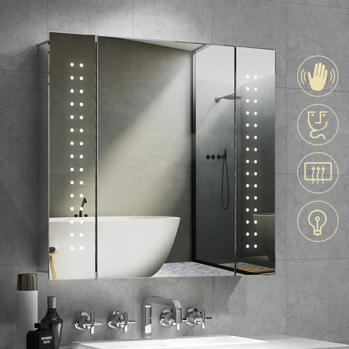 QuaviKey Led Illuminated Bathroom Mirror Cabinet with Lights and Shaver Socket Full Demister Pad 650 x 600 mm