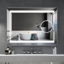 Load image into Gallery viewer, Quavikey 800 x 600 mm LED Bathroom Magnifying Mirror With Lights Illuminated Bathroom Wall Mirror With Full Demister Pad For Make Up Magnifying (No cabinet)