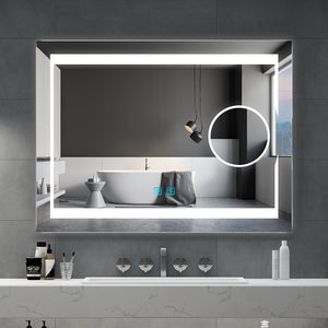 Quavikey 800 x 600 mm LED Bathroom Magnifying Mirror With Lights Illuminated Bathroom Wall Mirror With Full Demister Pad For Make Up Magnifying (No cabinet)