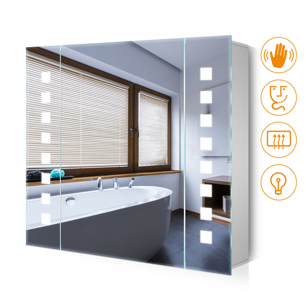 Quavikey 650 x 600mm LED Illuminated Bathroom Mirror Cabinet Aluminum Bathroom Mirror With Shaver Socket Demister Square Lights