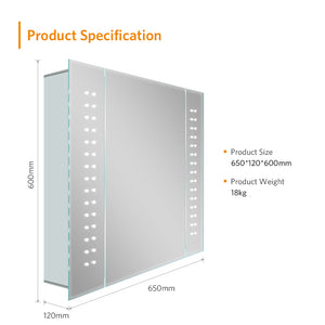 Quavikey 650 x 600mm LED Illuminated Bathroom Mirror Cabinet Aluminum Bathroom Mirror With Shaver Socket Demister Spot Lights