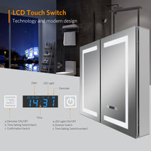 Load image into Gallery viewer, Quavikey 630 x 650 mm LED Illuminated Double Door Bathroom Mirror Cabinet With LCD Clock