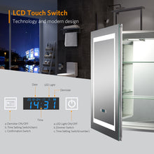 Load image into Gallery viewer, Quavikey 500 x 700 mm LED Illuminated Aluminium Bathroom Mirror Cabinet With LCD Clock