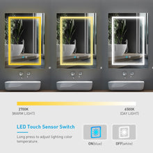 Load image into Gallery viewer, Led Illuminated Bathroom Mirror With Aluminum Adjustable Color Temperature Switch Shaver Socket Demister 500 x 700mm (No cabinets) MR004
