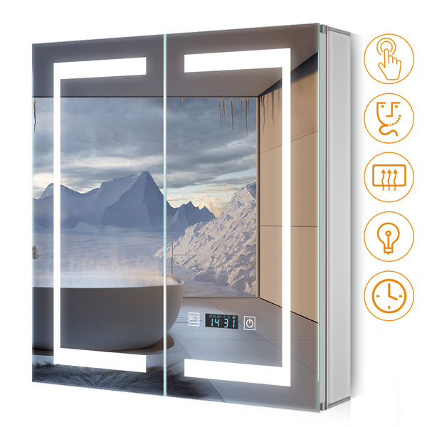 Quavikey 630 x 650 mm LED Illuminated Double Door Bathroom Mirror Cabinet With LCD Clock