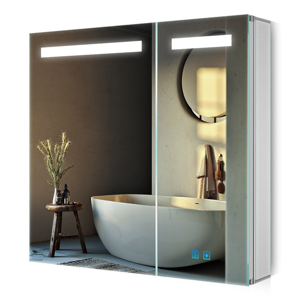 Quavikey Led Illuminated Bathroom Mirror Cabinet 2 Door Large Mirrored Cabinet With Shaver Socket 800 x 700mm