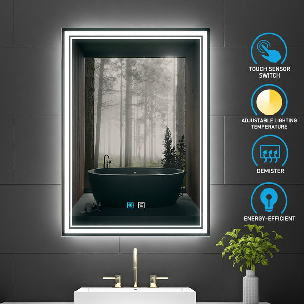 Led Illuminated Bathroom Mirror With Adjustable Color Temperature Switch Demister 500 X 700mm Made Of Aluminum (No Cabinets) MR014