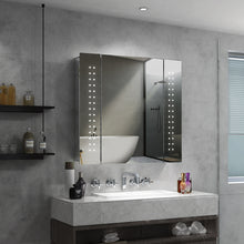 Load image into Gallery viewer, QuaviKey Led Illuminated Bathroom Mirror Cabinet with Lights and Shaver Socket Full Demister Pad 650 x 600 mm