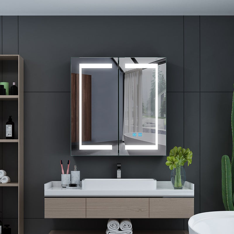 Led Illuminated Bathroom Mirror Cabinet With Led Dimmer Switch Shaver Socket Demister 630 X 650 Mm Made Of Aluminum For Makeup Shaving CB009