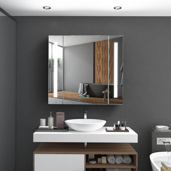 Led Illuminated Aluminum Bathroom Mirror Cabinet With Led Dimmer Switch Shaver Socket Strip Lights 650 x 600mm