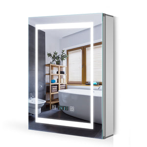 Quavikey 500 x 700 mm LED Illuminated Aluminium Bathroom Mirror Cabinet With LCD Clock