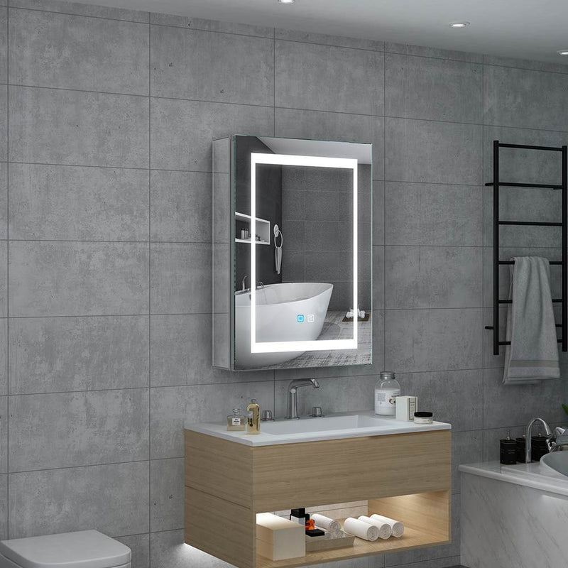 Led Illuminated Aluminum Bathroom Mirror Cabinet With Led Dimmer Switch Shaver Socket Demister 500 x 700mm