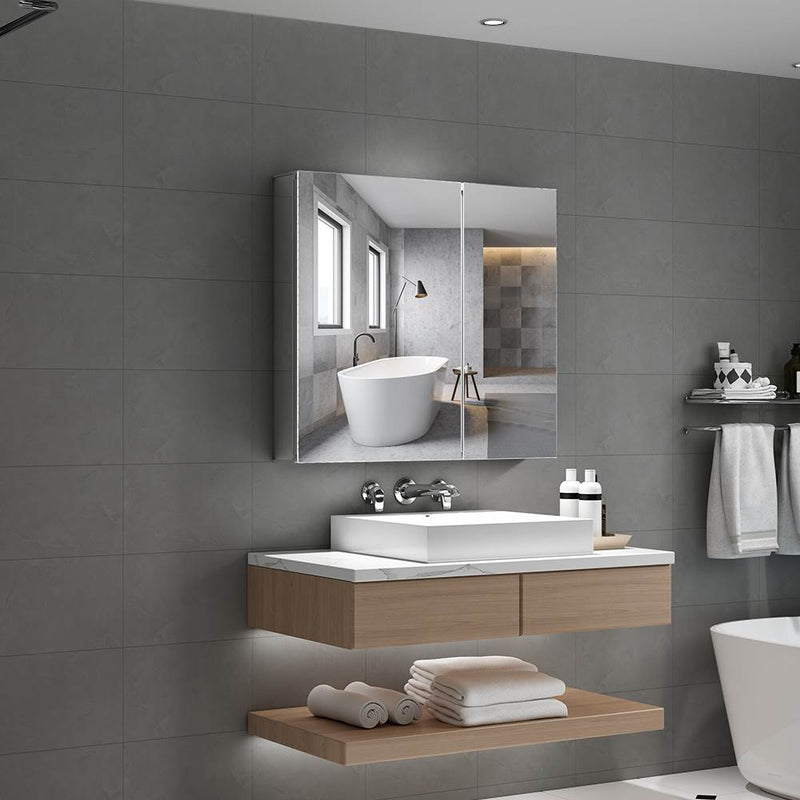Aluminum Bathroom Mirror Cabinet With Double Mirror Door 650 x 600mm