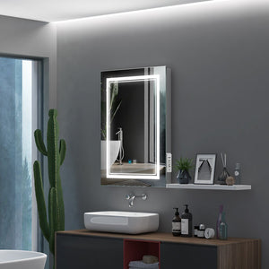 Led Illuminated Bathroom Mirror With Aluminum Adjustable Color Temperature Switch Shaver Socket Demister 500 x 700mm (No cabinets) MR004