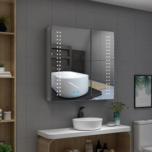 Led Illuminated Bathroom Vanity Mirror Cabinet 2 Door Large Mirrored Cabinet With Shaver Socket 630 x 650mm
