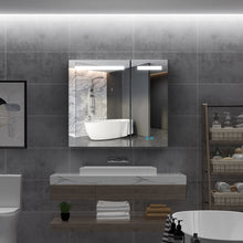 Load image into Gallery viewer, Quavikey Led Illuminated Bathroom Mirror Cabinet 2 Door Large Mirrored Cabinet With Shaver Socket 800 x 700mm