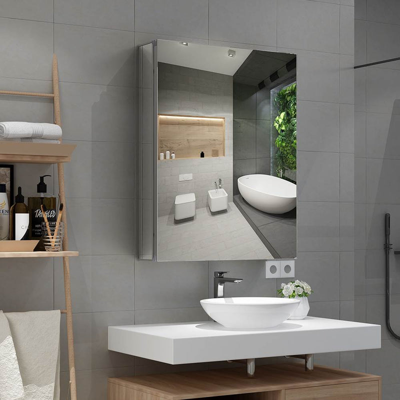 Aluminum Bathroom Mirror Cabinet With Crystal Clear Mirror 500 x 650mm MCS01