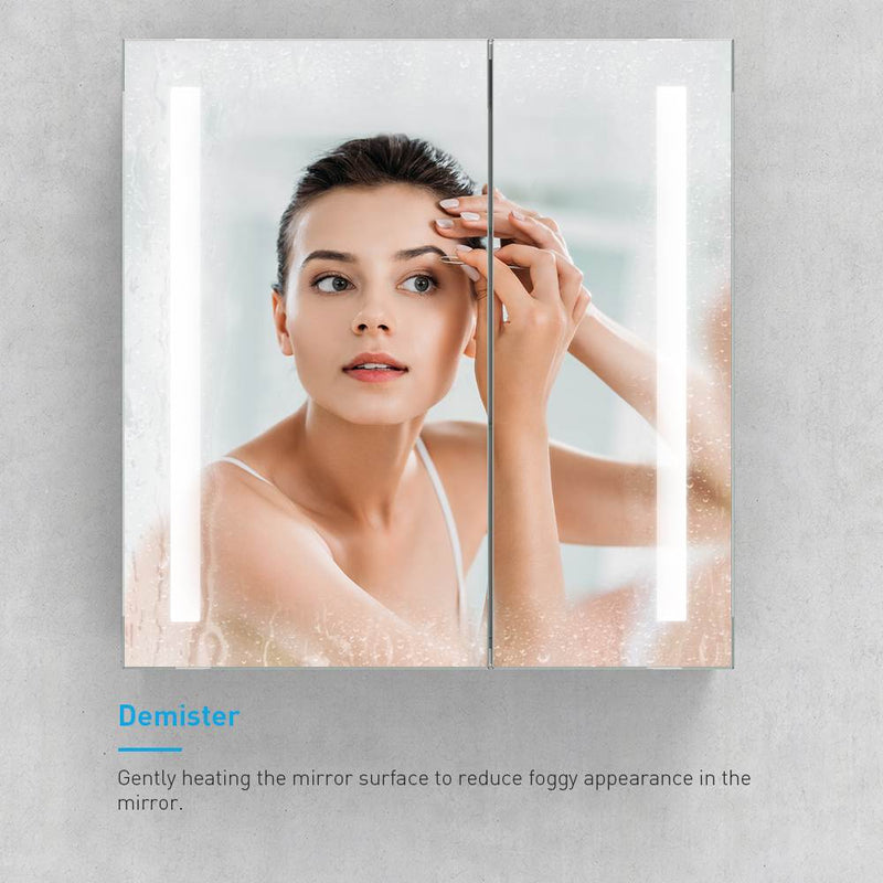 Led Illuminated Aluminum Bathroom Mirror Cabinet With IR Sensor Switch Shaver Socket Strip Lights Double Door 630 x 650mm