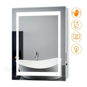 Quavikey 500 x 700mm LED Illuminated Aluminum Bathroom Mirror With Shaver Socket (No cabinet)