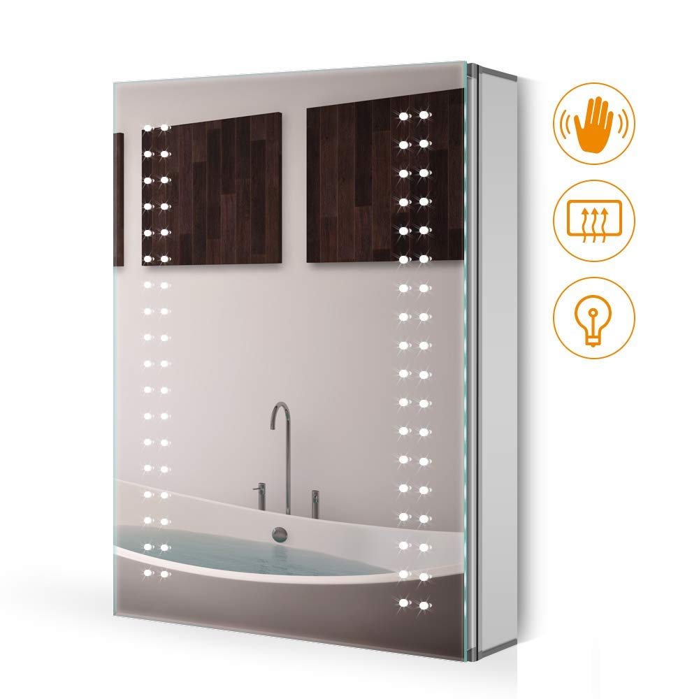 Quavikey 500 x 700mm LED Illuminated Aluminum Bathroom Mirror Cabinet Spot Lights