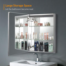 Load image into Gallery viewer, Quavikey 400 x 600mm LED Illuminated Aluminum Bathroom Mirror Cabinet