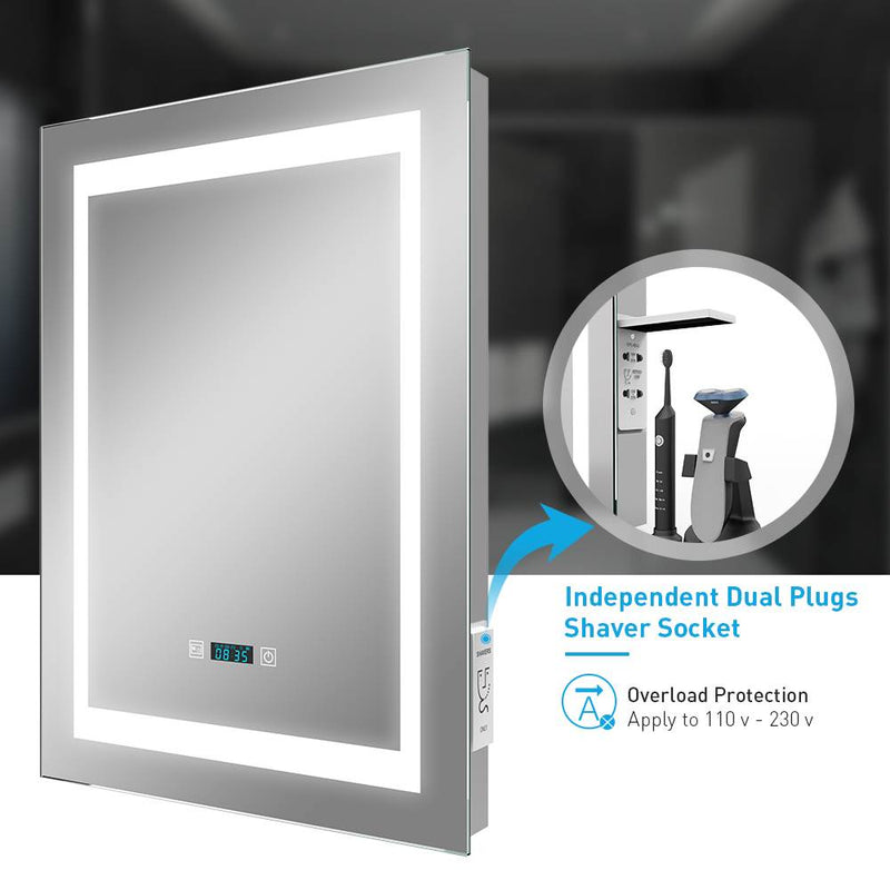 Led Illuminated Aluminum Bathroom Mirror With LCD Digital Clock Shaver Socket 500 x 700mm (No cabinet) MR003