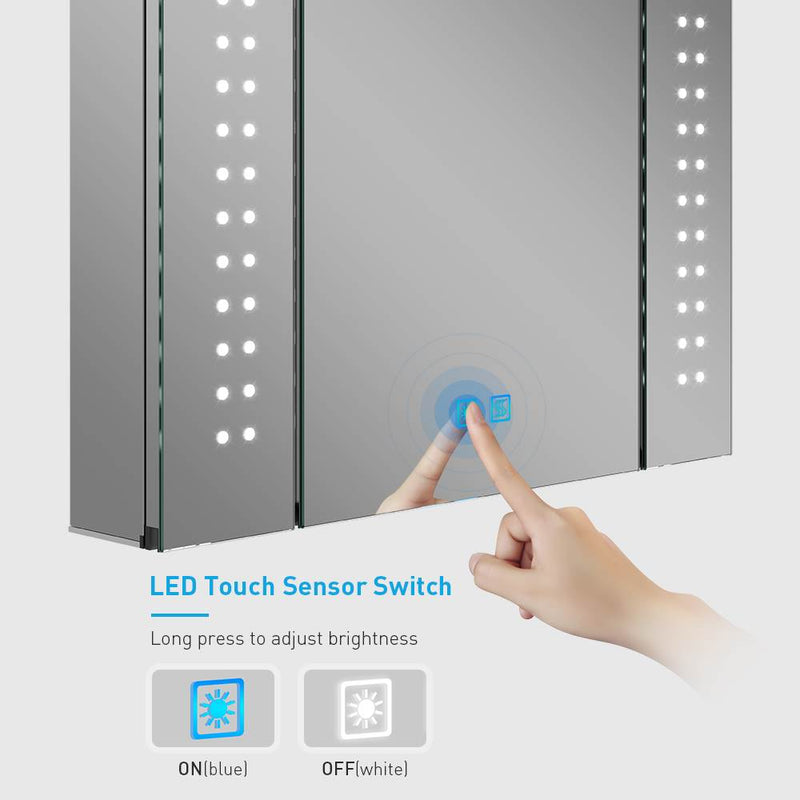 Led Illuminated Aluminum Bathroom Mirror Cabinet With Led Dimmer Switch Shaver Socket Dot Lights 650 x 600mm