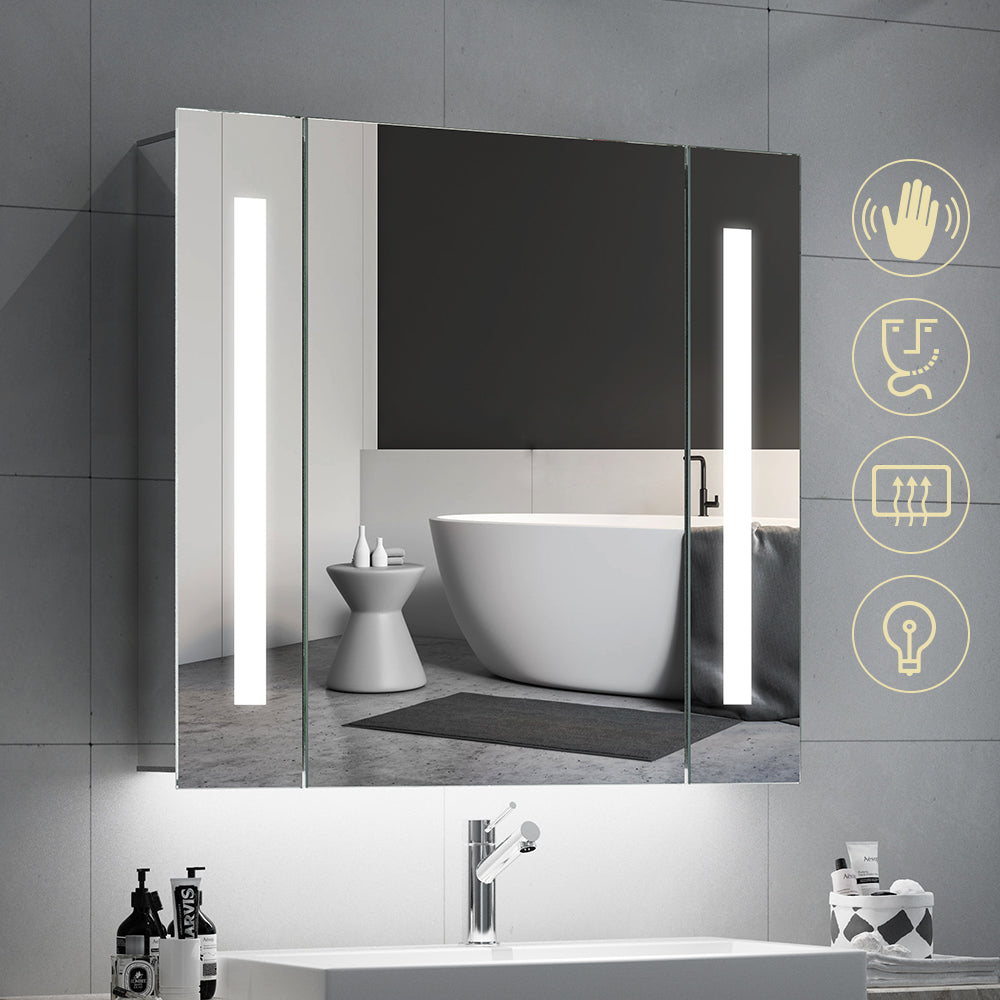 Quavikey 650 x 600mm LED Illuminated Bathroom Mirror Cabinet Aluminum Bathroom Mirror With Shaver Socket Demister Straight Lights