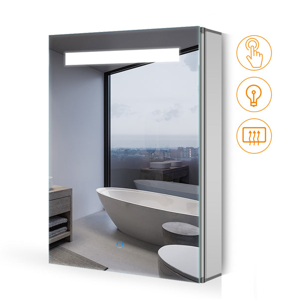 Quavikey 400 x 600mm LED Illuminated Aluminum Bathroom Mirror Cabinet