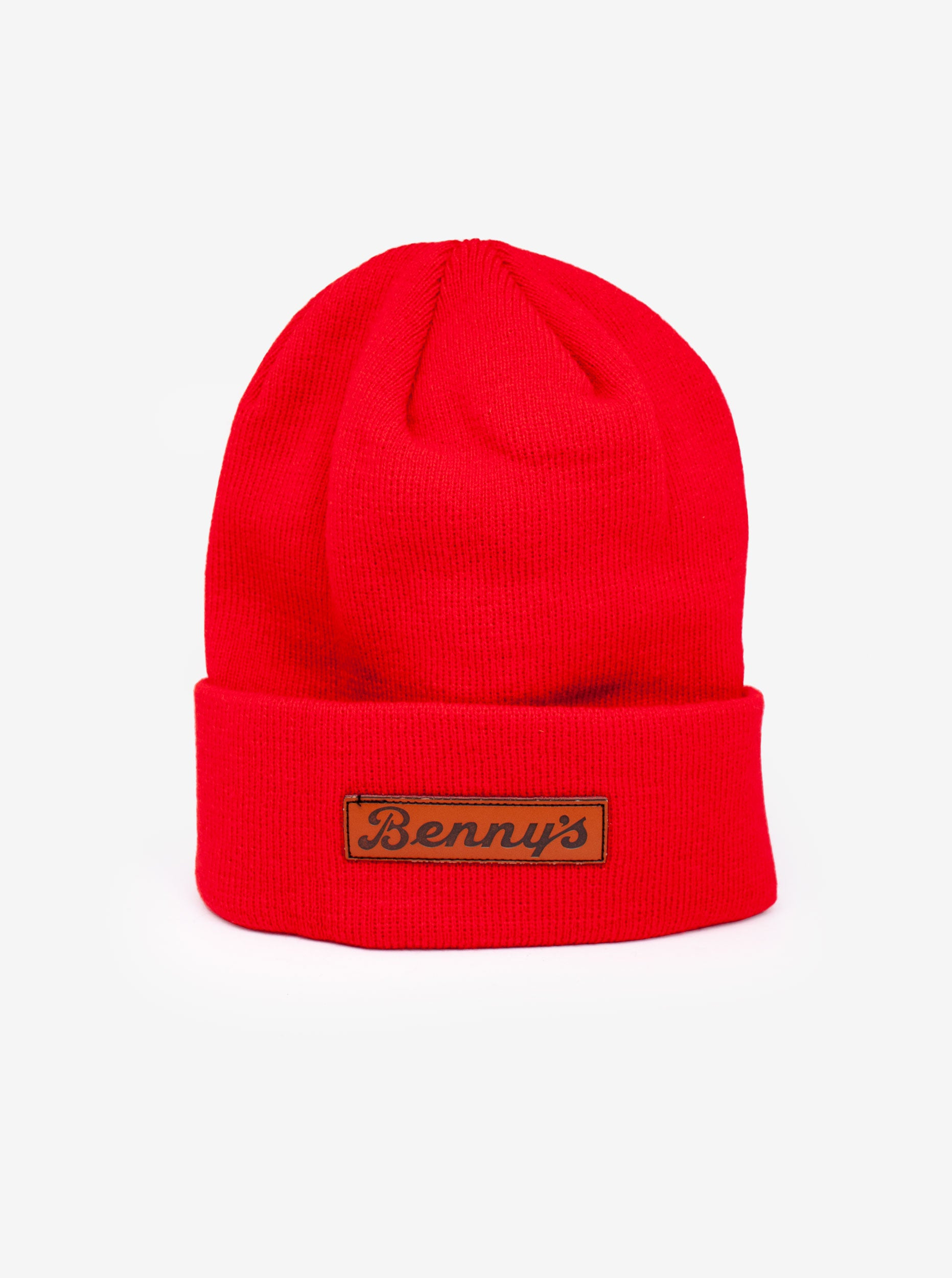 leather patch beanie red vintage bennys vintage bennys