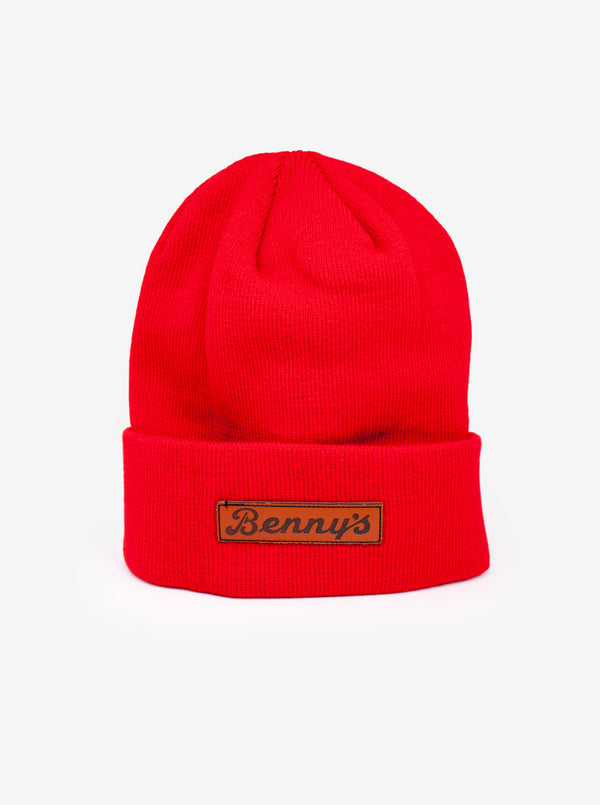 Leather Patch Beanie - Red