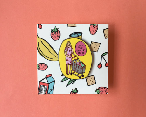 Grocery Store Girl Enamel Pin