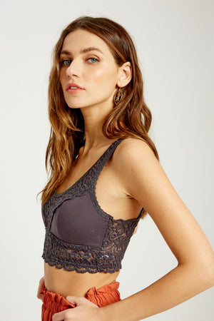 Wide Strap Padded Bralette Charcoal