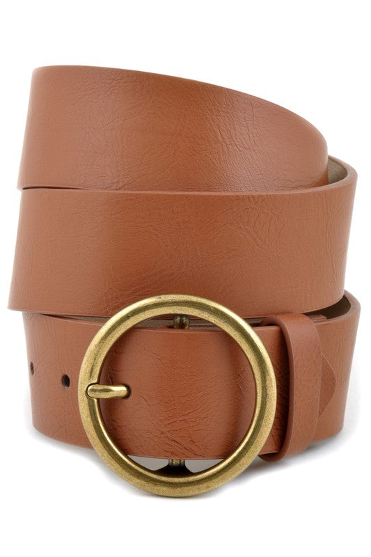 Brown Round Belt Gold Buckle