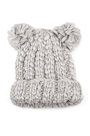 Double Pom Beanie Grey