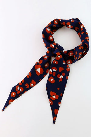 Navy and Red Leopard Bandana