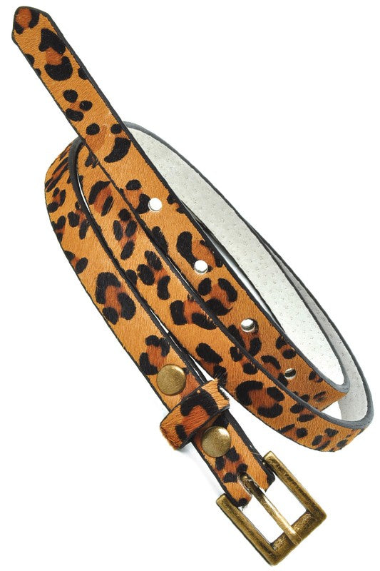 Thin Cheetah Print Belt