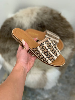 Strappy Cheetah Slides